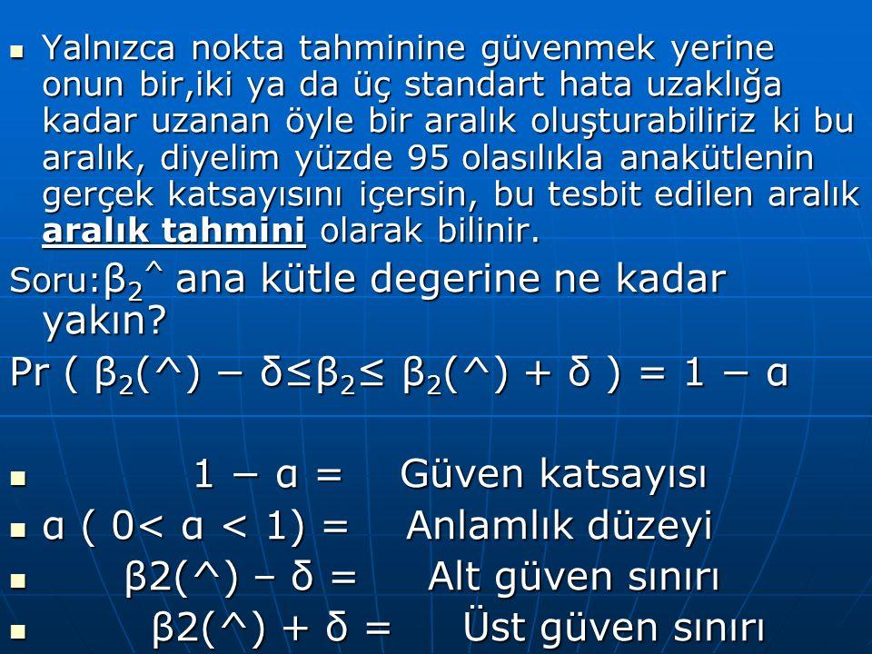 Aralık tahmininin şu yönlerini bilmek çok önemlidir : Formülde β2' nin verilen sınırlar arasında bulunma olasılığının 1 – α olduğunu söylemez.Sadece β2' yi içerme olasılığınınFormülde β2' nin verilen sınırlar arasında bulunma olasılığının 1 – α olduğunu söylemez.Sadece β2' yi içerme olasılığının 1 – α olan bir aralık kurulabileceğidir 1 – α olan bir aralık kurulabileceğidir Bir örneklemden diğerine geçildikçe aralık değişebilecektir.Bir örneklemden diğerine geçildikçe aralık değişebilecektir.