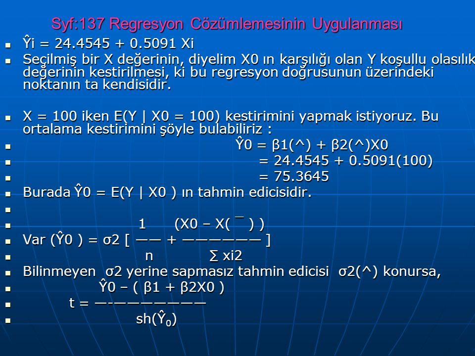 Syf:137 Regresyon Cözümlemesinin Uygulanması Ŷi = 24.4545 + 0.5091 Xi Ŷi = 24.4545 + 0.5091 Xi Seçilmiş bir X değerinin, diyelim X0 ın karşılığı olan Y koşullu olasılık değerinin kestirilmesi, ki bu regresyon doğrusunun üzerindeki noktanın ta kendisidir.