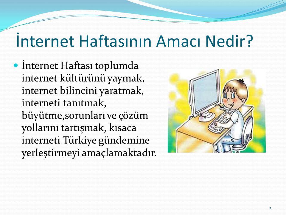 İnternet Haftasının Amacı Nedir? İnternet Haftası toplumda internet kültürünü yaymak, internet bilincini yaratmak, interneti tanıtmak, büyütme,sorunla