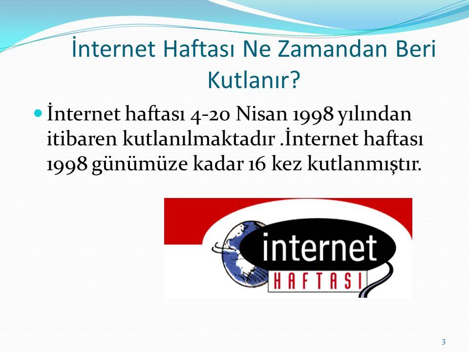 İnternet Haftası Ne Zamandan Beri Kutlanır? İnternet haftası 4-20 Nisan 1998 yılından itibaren kutlanılmaktadır.İnternet haftası 1998 günümüze kadar 1