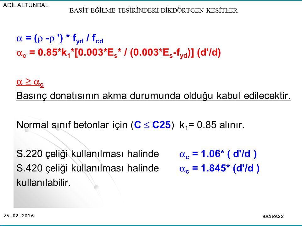 25.02.2016  = (  -  ') * f yd / f cd  c = 0.85*k 1 *[0.003*E s * / (0.003*E s -f yd )] (d'/d)    c Basınç donatısının akma durumunda olduğu kab