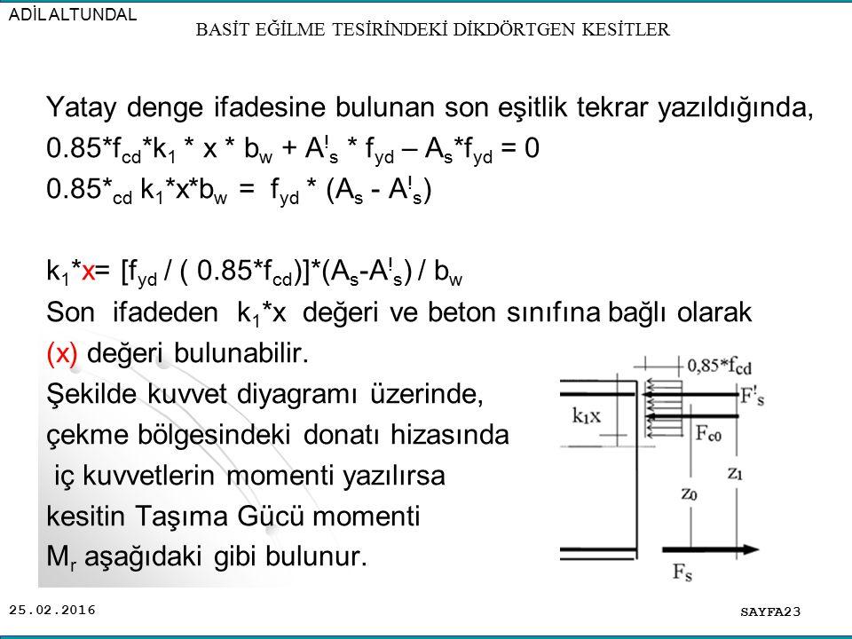 25.02.2016 Yatay denge ifadesine bulunan son eşitlik tekrar yazıldığında, 0.85*f cd *k 1 * x * b w + A ! s * f yd – A s *f yd = 0 0.85* cd k 1 *x*b w