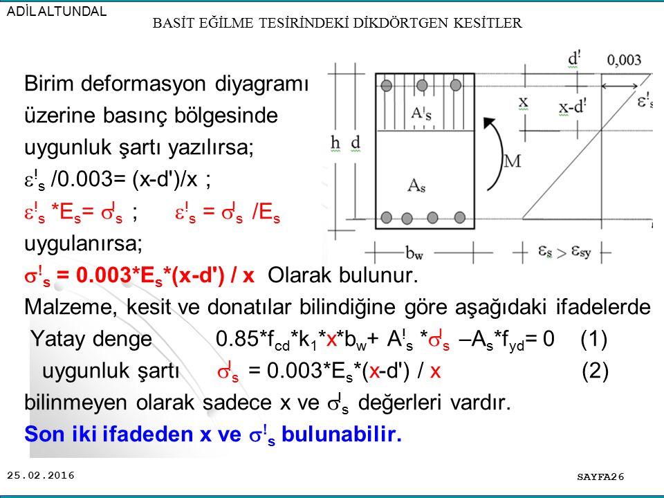 25.02.2016 Birim deformasyon diyagramı üzerine basınç bölgesinde uygunluk şartı yazılırsa;  ! s /0.003= (x-d')/x ;  ! s *E s =  ! s ;  ! s =  ! s