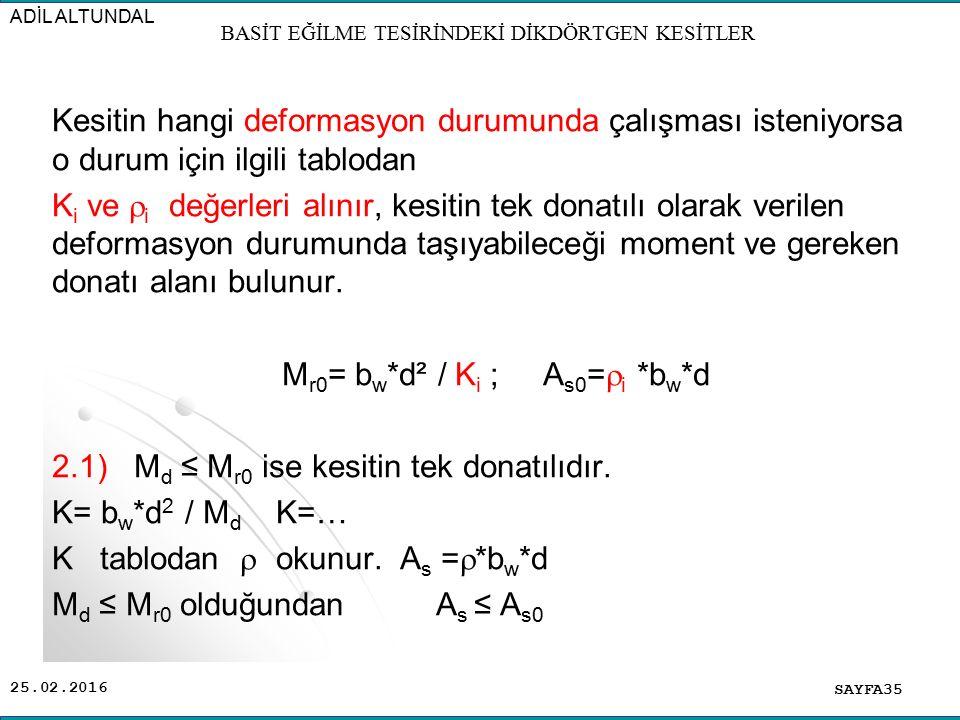 25.02.2016 Kesitin hangi deformasyon durumunda çalışması isteniyorsa o durum için ilgili tablodan K i ve  i değerleri alınır, kesitin tek donatılı ol