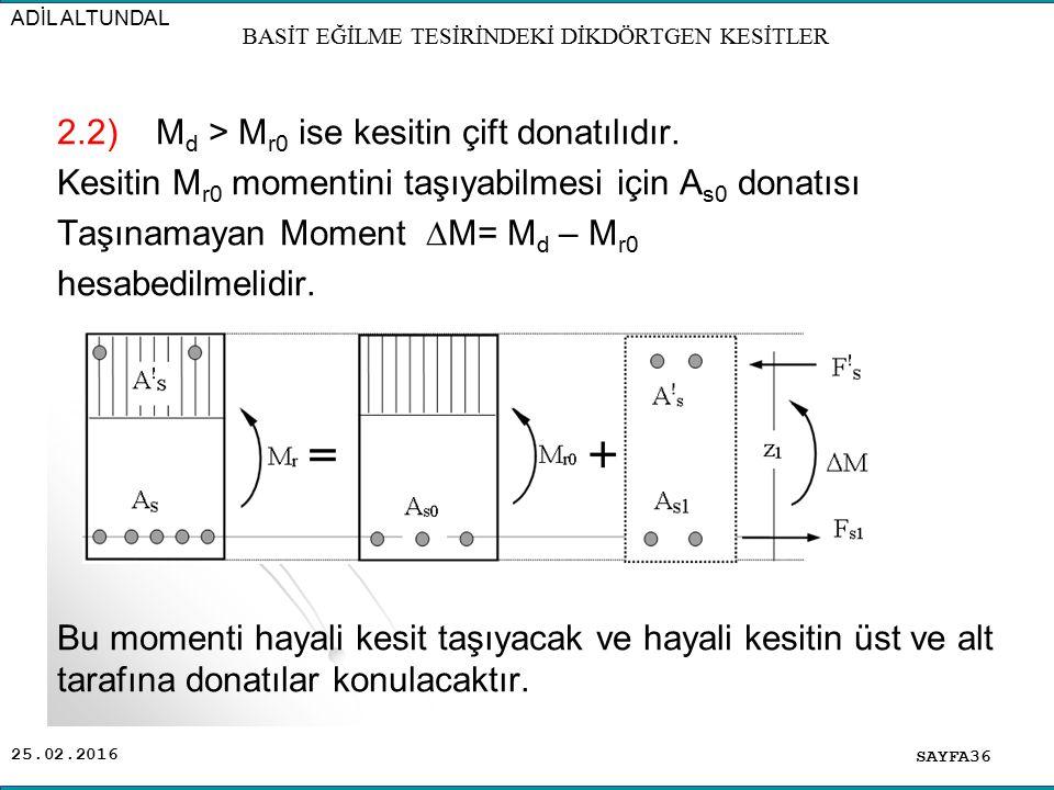 25.02.2016 2.2) M d > M r0 ise kesitin çift donatılıdır. Kesitin M r0 momentini taşıyabilmesi için A s0 donatısı Taşınamayan Moment  M= M d – M r0 he