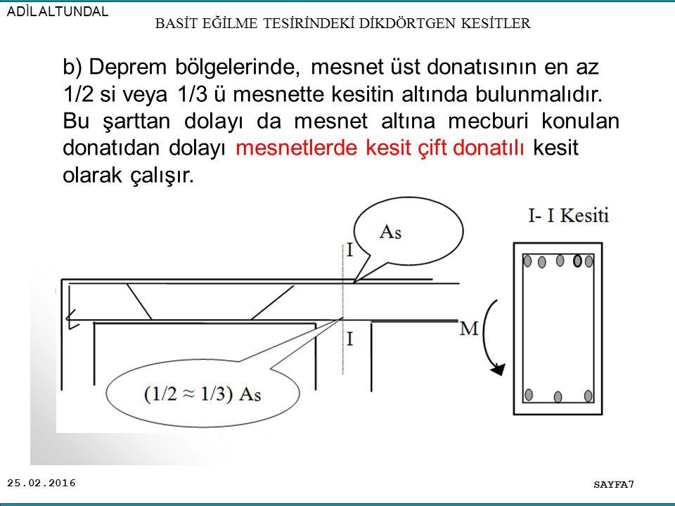 25.02.2016 Hesap Esası: Boyutları ve Malzemesi verilen bir kesitin istenilen deformasyon durumunda sadece çekme bölgesine donatı konularak(tek donatılı olarak) taşıyabileceği momente M r0 Bu moment için gereken donatı alanına A s0 denir.