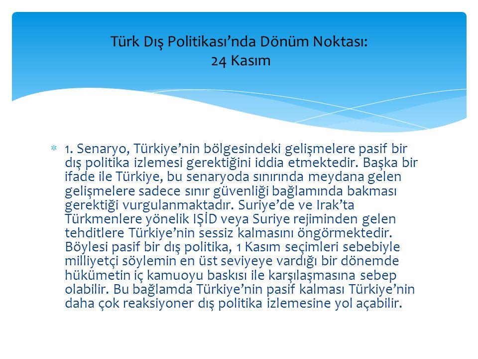  1. Senaryo, Türkiye'nin bölgesindeki gelişmelere pasif bir dış politika izlemesi gerektiğini iddia etmektedir. Başka bir ifade ile Türkiye, bu senar