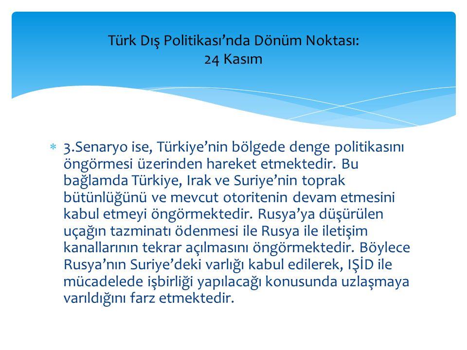  3.Senaryo ise, Türkiye'nin bölgede denge politikasını öngörmesi üzerinden hareket etmektedir. Bu bağlamda Türkiye, Irak ve Suriye'nin toprak bütünlü