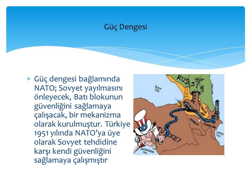  Güç dengesi bağlamında NATO; Sovyet yayılmasını önleyecek, Batı blokunun güvenliğini sağlamaya çalışacak, bir mekanizma olarak kurulmuştur. Türkiye