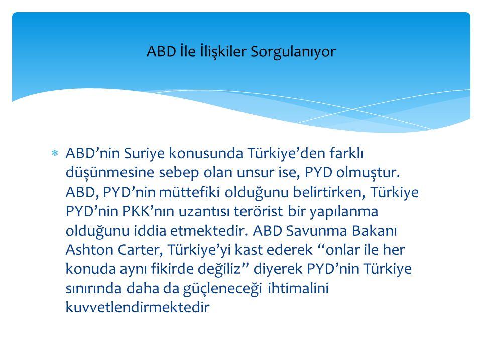  ABD'nin Suriye konusunda Türkiye'den farklı düşünmesine sebep olan unsur ise, PYD olmuştur. ABD, PYD'nin müttefiki olduğunu belirtirken, Türkiye PYD