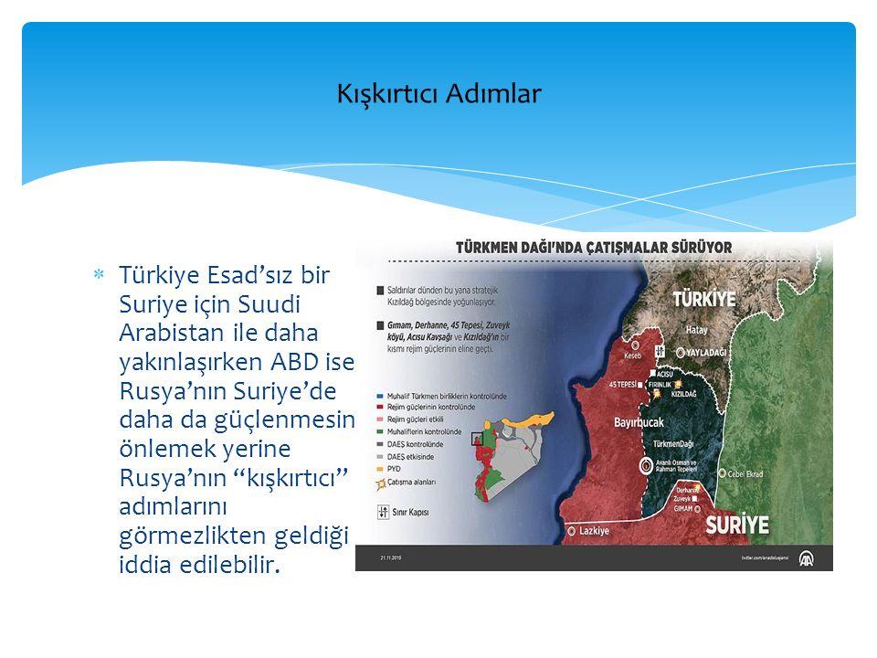 Türkiye Esad'sız bir Suriye için Suudi Arabistan ile daha yakınlaşırken ABD ise, Rusya'nın Suriye'de daha da güçlenmesini önlemek yerine Rusya'nın kışkırtıcı adımlarını görmezlikten geldiği iddia edilebilir.