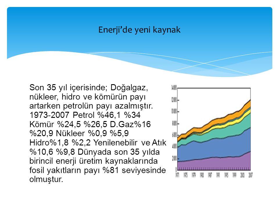 Son 35 yıl içerisinde; Doğalgaz, nükleer, hidro ve kömürün payı artarken petrolün payı azalmıştır. 1973-2007 Petrol %46,1 %34 Kömür %24,5 %26,5 D.Gaz%