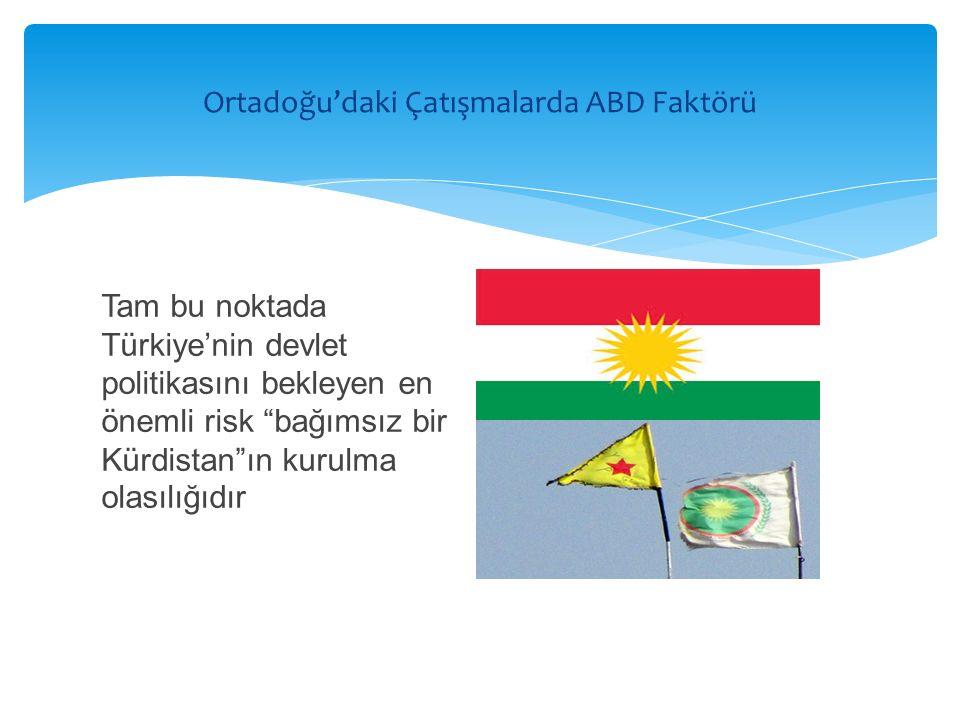 Tam bu noktada Türkiye'nin devlet politikasını bekleyen en önemli risk bağımsız bir Kürdistan ın kurulma olasılığıdır Ortadoğu'daki Çatışmalarda ABD Faktörü