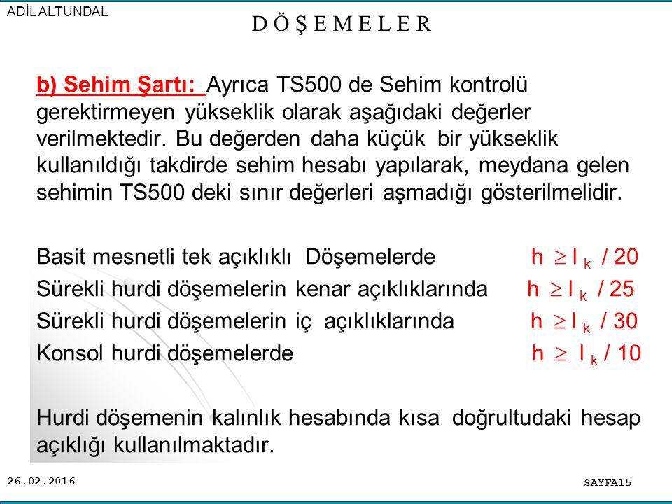 26.02.2016 b) Sehim Şartı: Ayrıca TS500 de Sehim kontrolü gerektirmeyen yükseklik olarak aşağıdaki değerler verilmektedir.