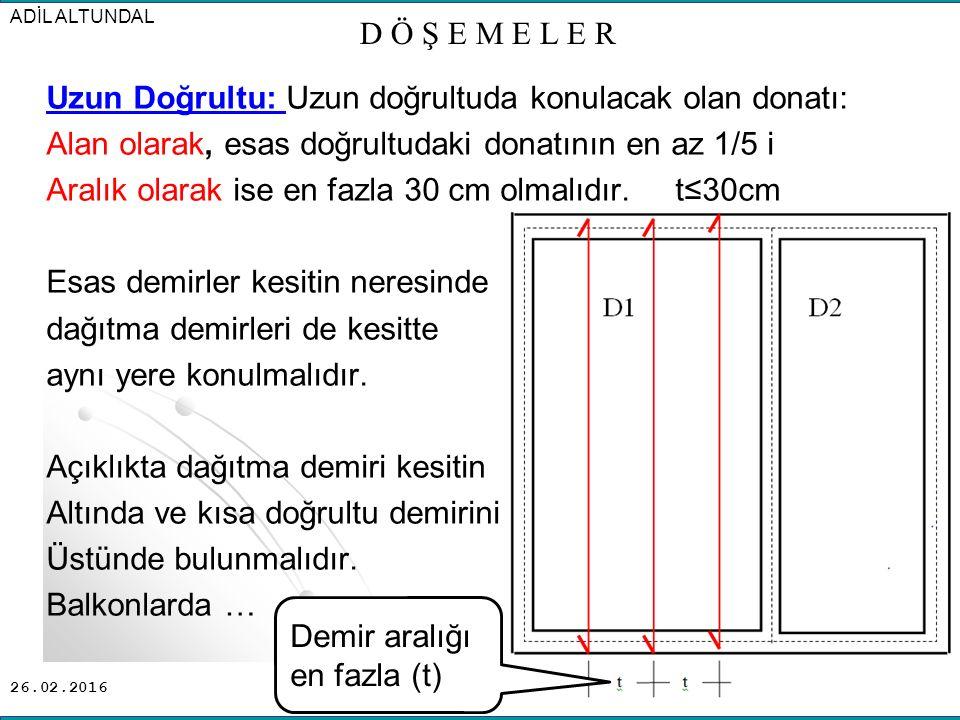 26.02.2016 Uzun Doğrultu: Uzun doğrultuda konulacak olan donatı: Alan olarak, esas doğrultudaki donatının en az 1/5 i Aralık olarak ise en fazla 30 cm olmalıdır.