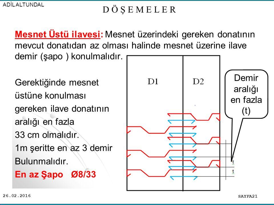 26.02.2016 Mesnet Üstü ilavesi: Mesnet üzerindeki gereken donatının mevcut donatıdan az olması halinde mesnet üzerine ilave demir (şapo ) konulmalıdır.