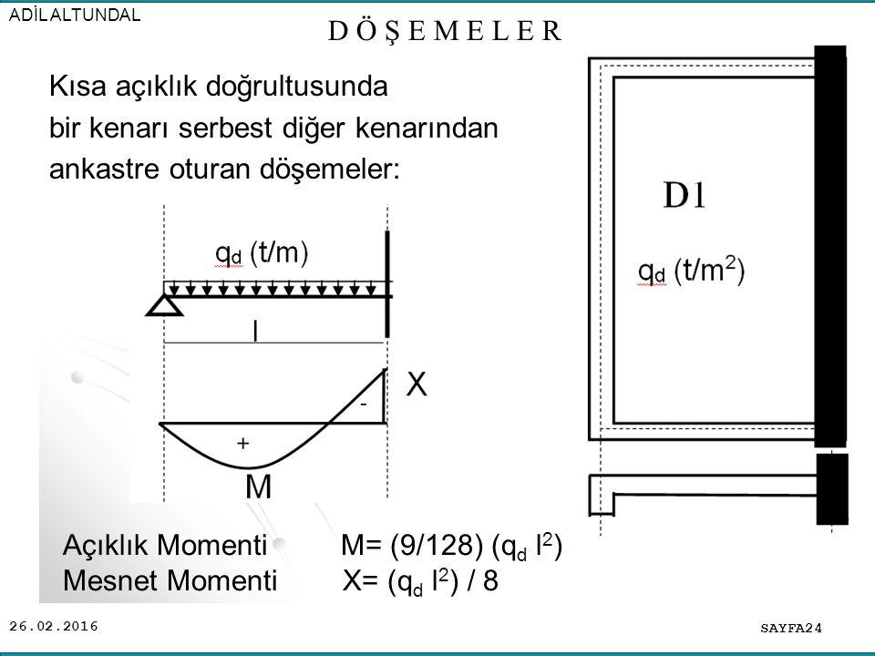 26.02.2016 Kısa açıklık doğrultusunda bir kenarı serbest diğer kenarından ankastre oturan döşemeler: SAYFA24 ADİL ALTUNDAL D Ö Ş E M E L E R Açıklık Momenti M= (9/128) (q d l 2 ) Mesnet Momenti X= (q d l 2 ) / 8