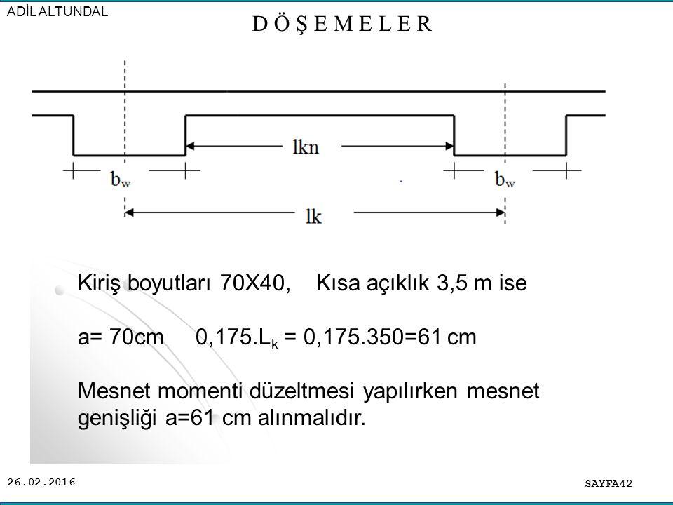 26.02.2016 SAYFA42 ADİL ALTUNDAL D Ö Ş E M E L E R Kiriş boyutları 70X40, Kısa açıklık 3,5 m ise a= 70cm 0,175.L k = 0,175.350=61 cm Mesnet momenti düzeltmesi yapılırken mesnet genişliği a=61 cm alınmalıdır.