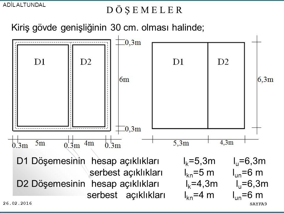 26.02.2016 SAYFA9 ADİL ALTUNDAL D Ö Ş E M E L E R Kiriş gövde genişliğinin 30 cm.