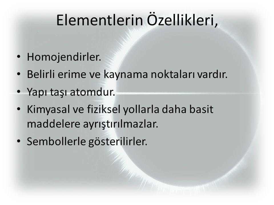 Elementlerin Özellikleri, Homojendirler. Belirli erime ve kaynama noktaları vardır.