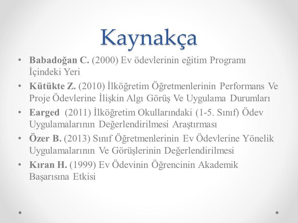 Kaynakça Babadoğan C. (2000) Ev ödevlerinin eğitim Programı İçindeki Yeri Kütükte Z.