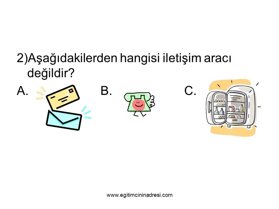 2)Aşağıdakilerden hangisi iletişim aracı değildir A.B.C. www.egitimcininadresi.com