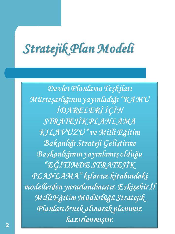"""Stratejik Plan Modeli 2 Devlet Planlama Teşkilatı Müsteşarlığının yayınladığı """"KAMU İDARELERİ İÇİN STRATEJİK PLANLAMA KILAVUZU"""" ve Milli Eğitim Bakanl"""