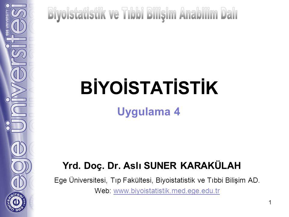 BİYOİSTATİSTİK Yrd. Doç. Dr. Aslı SUNER KARAKÜLAH Ege Üniversitesi, Tıp Fakültesi, Biyoistatistik ve Tıbbi Bilişim AD. Web: www.biyoistatistik.med.ege