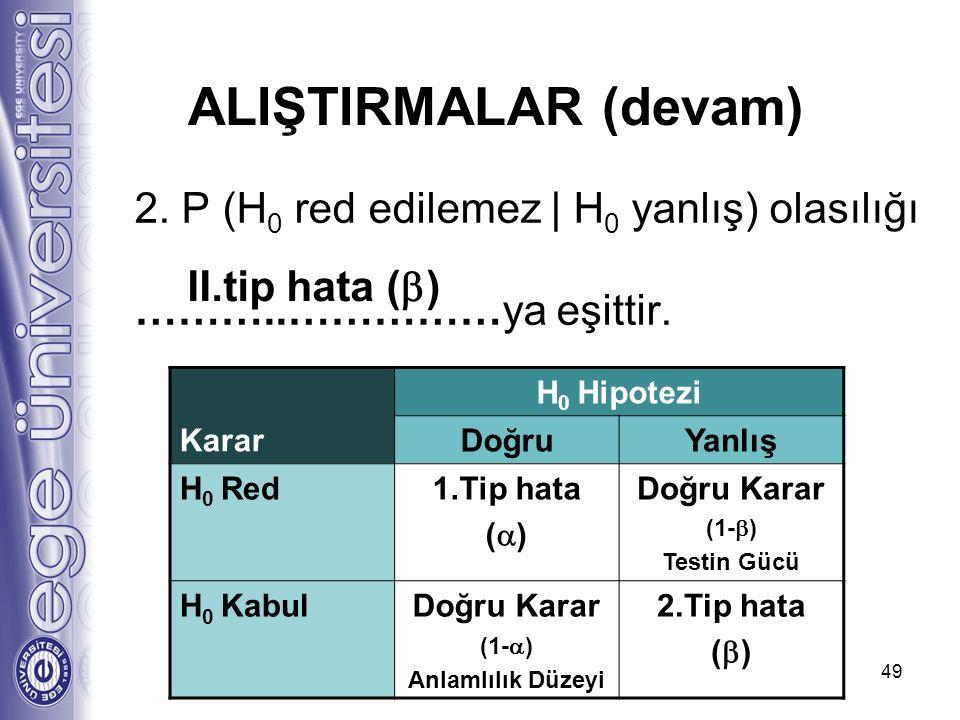 2. P (H 0 red edilemez | H 0 yanlış) olasılığı ………..……………ya eşittir. 49 II.tip hata (  ) ALIŞTIRMALAR (devam) Karar H 0 Hipotezi DoğruYanlış H 0 Red1