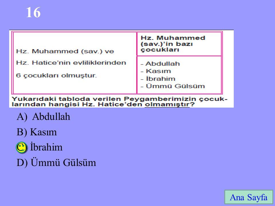16 Ana Sayfa A)Abdullah B) Kasım C) İbrahim D) Ümmü Gülsüm
