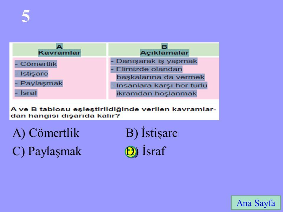 5 Ana Sayfa A) Cömertlik B) İstişare C) Paylaşmak D) İsraf