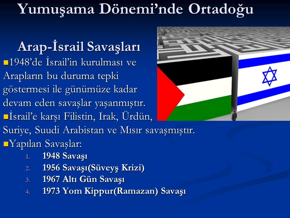 Yumuşama Dönemi'nde Ortadoğu Arap-İsrail Savaşları 1948'de İsrail'in kurulması ve 1948'de İsrail'in kurulması ve Arapların bu duruma tepki göstermesi