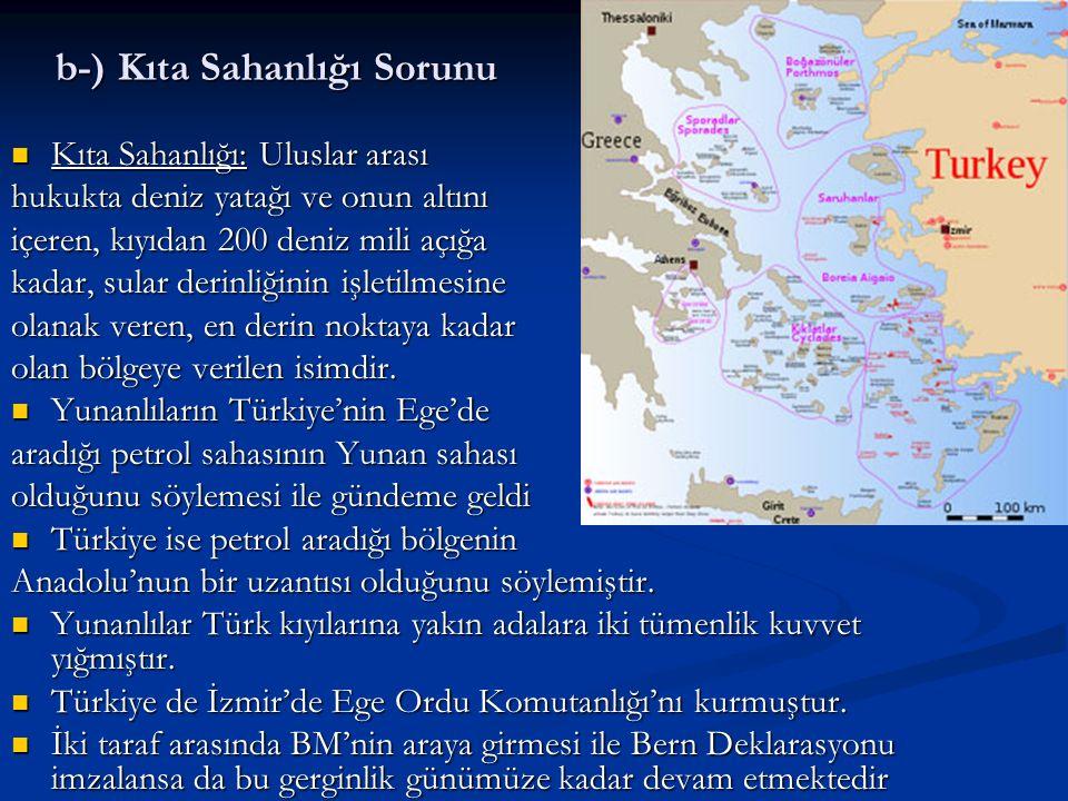 b-) Kıta Sahanlığı Sorunu Kıta Sahanlığı: Uluslar arası Kıta Sahanlığı: Uluslar arası hukukta deniz yatağı ve onun altını içeren, kıyıdan 200 deniz mi
