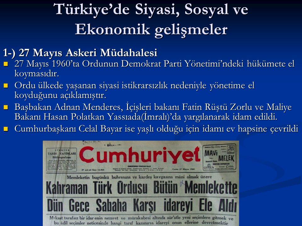 Türkiye'de Siyasi, Sosyal ve Ekonomik gelişmeler 27 Mayıs 1960'ta Ordunun Demokrat Parti Yönetimi'ndeki hükümete el koymasıdır. 27 Mayıs 1960'ta Ordun