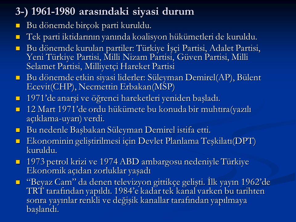 3-) 1961-1980 arasındaki siyasi durum Bu dönemde birçok parti kuruldu. Bu dönemde birçok parti kuruldu. Tek parti iktidarının yanında koalisyon hüküme