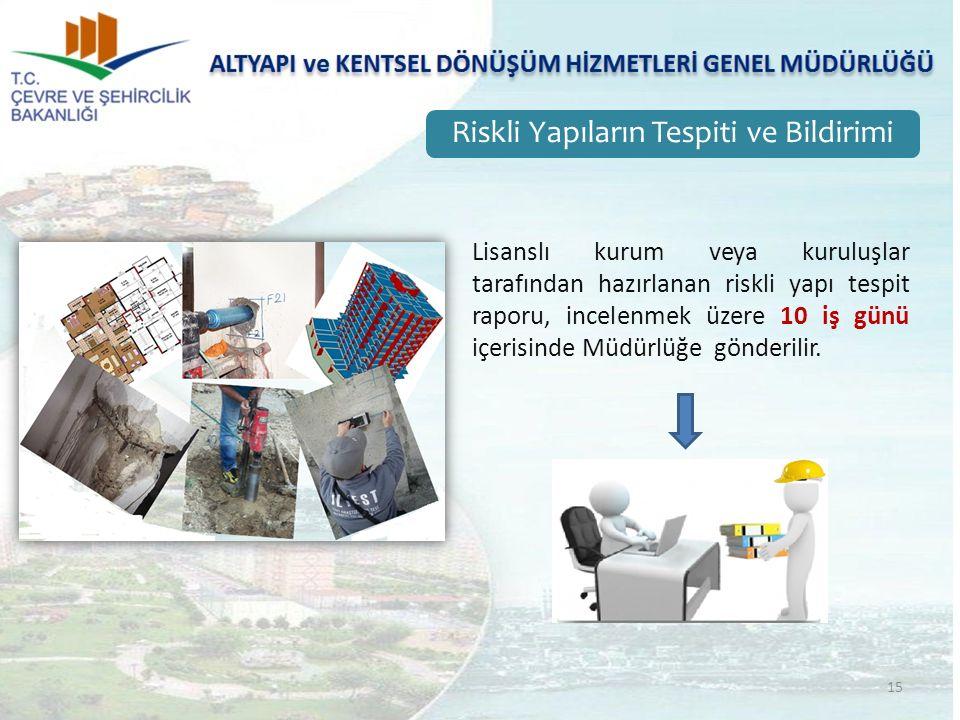 15 Riskli Yapıların Tespiti ve Bildirimi Lisanslı kurum veya kuruluşlar tarafından hazırlanan riskli yapı tespit raporu, incelenmek üzere 10 iş günü içerisinde Müdürlüğe gönderilir.