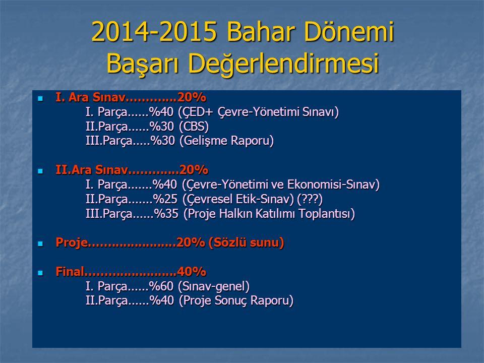 2014-2015 Bahar Dönemi Ba ş arı De ğ erlendirmesi I.