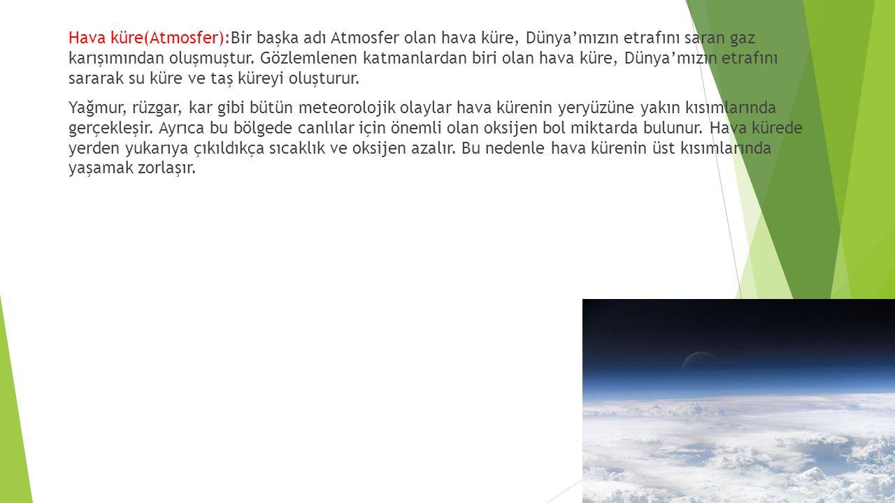 Hava küre(Atmosfer):Bir başka adı Atmosfer olan hava küre, Dünya'mızın etrafını saran gaz karışımından oluşmuştur. Gözlemlenen katmanlardan biri olan