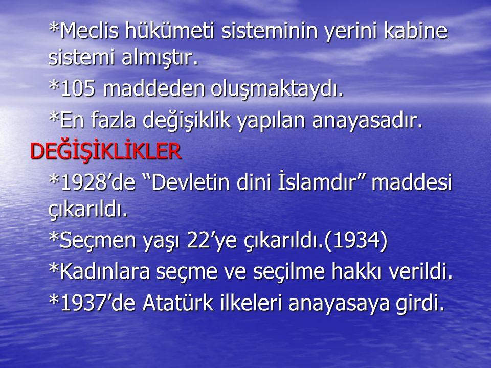 *Meclis hükümeti sisteminin yerini kabine sistemi almıştır. *105 maddeden oluşmaktaydı. *En fazla değişiklik yapılan anayasadır. DEĞİŞİKLİKLER *1928'd