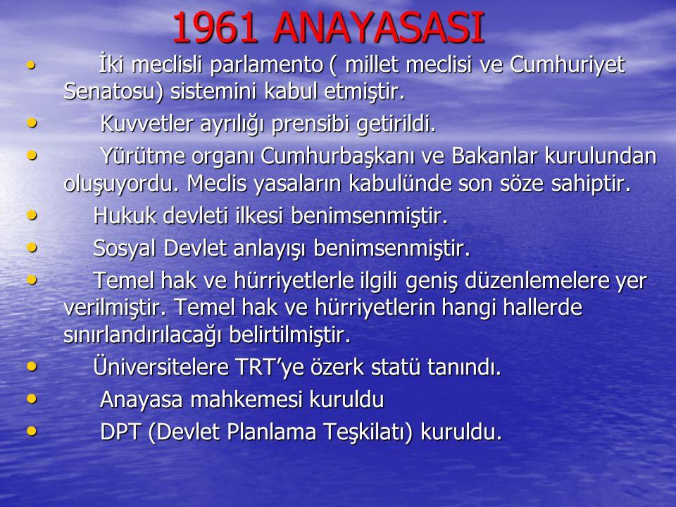 1961 ANAYASASI 1961 ANAYASASI İki meclisli parlamento ( millet meclisi ve Cumhuriyet Senatosu) sistemini kabul etmiştir. İki meclisli parlamento ( mil