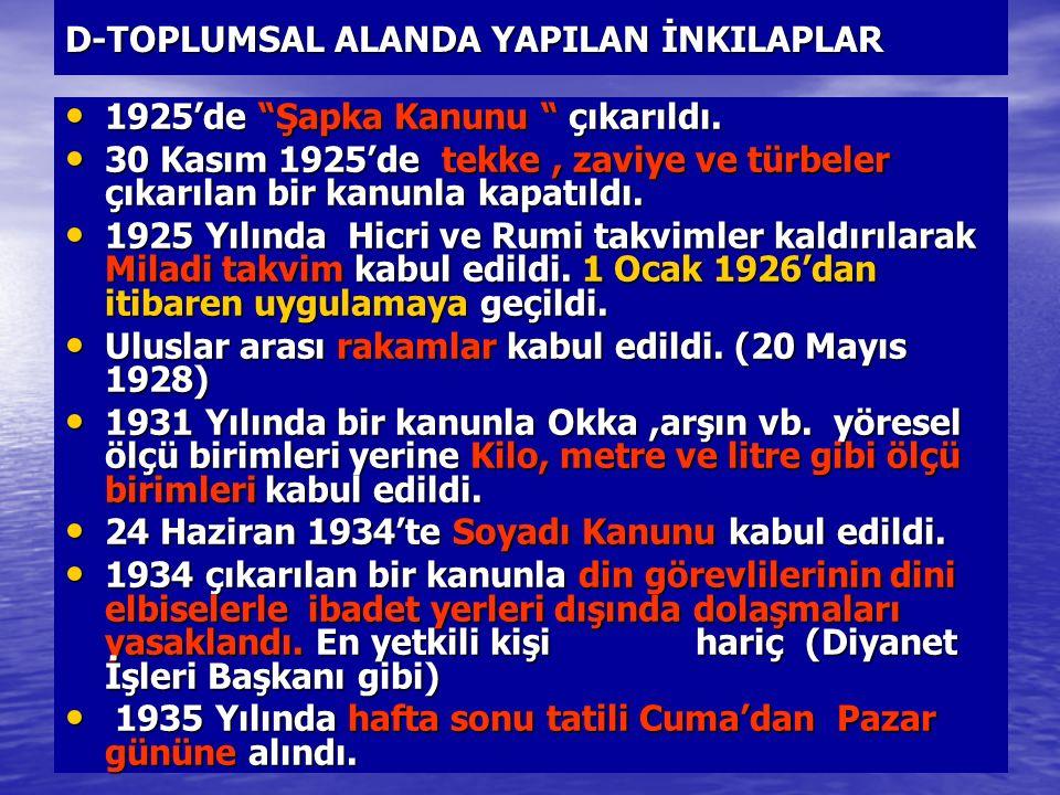 """D-TOPLUMSAL ALANDA YAPILAN İNKILAPLAR 1925'de """"Şapka Kanunu """" çıkarıldı. 1925'de """"Şapka Kanunu """" çıkarıldı. 30 Kasım 1925'de tekke, zaviye ve türbeler"""