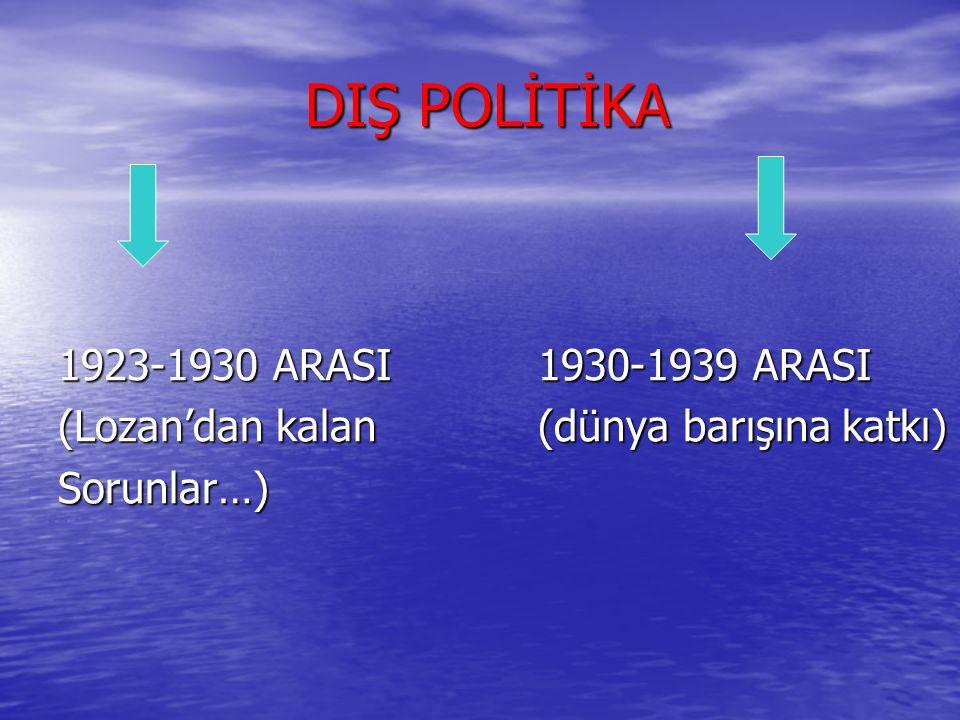 DIŞ POLİTİKA DIŞ POLİTİKA 1923-1930 ARASI1930-1939 ARASI (Lozan'dan kalan (dünya barışına katkı) Sorunlar…)
