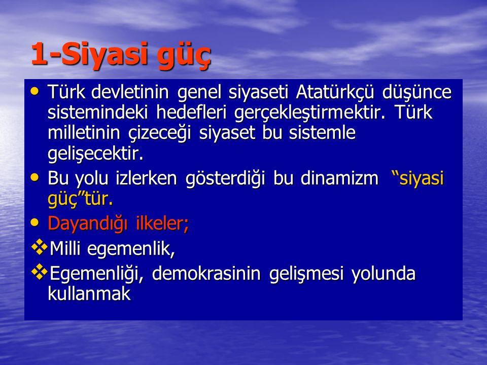 1-Siyasi güç Türk devletinin genel siyaseti Atatürkçü düşünce sistemindeki hedefleri gerçekleştirmektir. Türk milletinin çizeceği siyaset bu sistemle