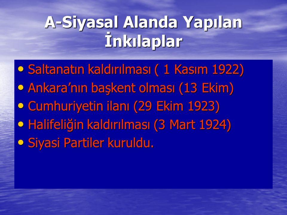 A-Siyasal Alanda Yapılan İnkılaplar Saltanatın kaldırılması ( 1 Kasım 1922) Saltanatın kaldırılması ( 1 Kasım 1922) Ankara'nın başkent olması (13 Ekim