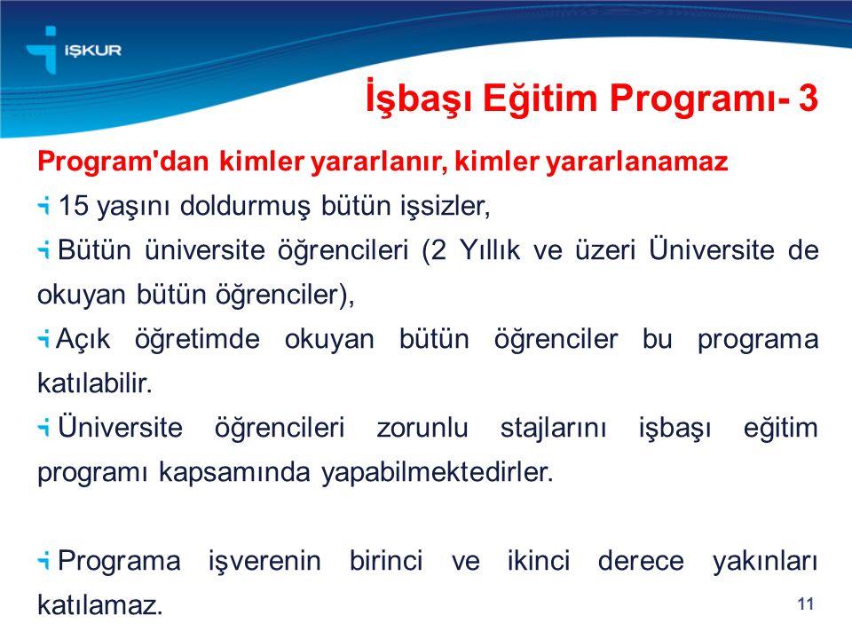 11 Program'dan kimler yararlanır, kimler yararlanamaz 15 yaşını doldurmuş bütün işsizler, Bütün üniversite öğrencileri (2 Yıllık ve üzeri Üniversite d