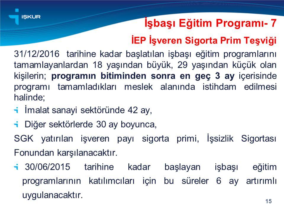 İEP İşveren Sigorta Prim Teşviği 31/12/2016 tarihine kadar başlatılan işbaşı eğitim programlarını tamamlayanlardan 18 yaşından büyük, 29 yaşından küçü