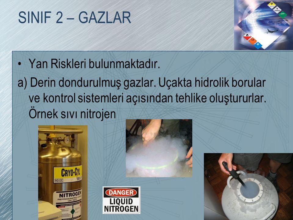 SINIF 2 – GAZLAR Yan Riskleri bulunmaktadır. a) Derin dondurulmuş gazlar. Uçakta hidrolik borular ve kontrol sistemleri açısından tehlike oluştururlar