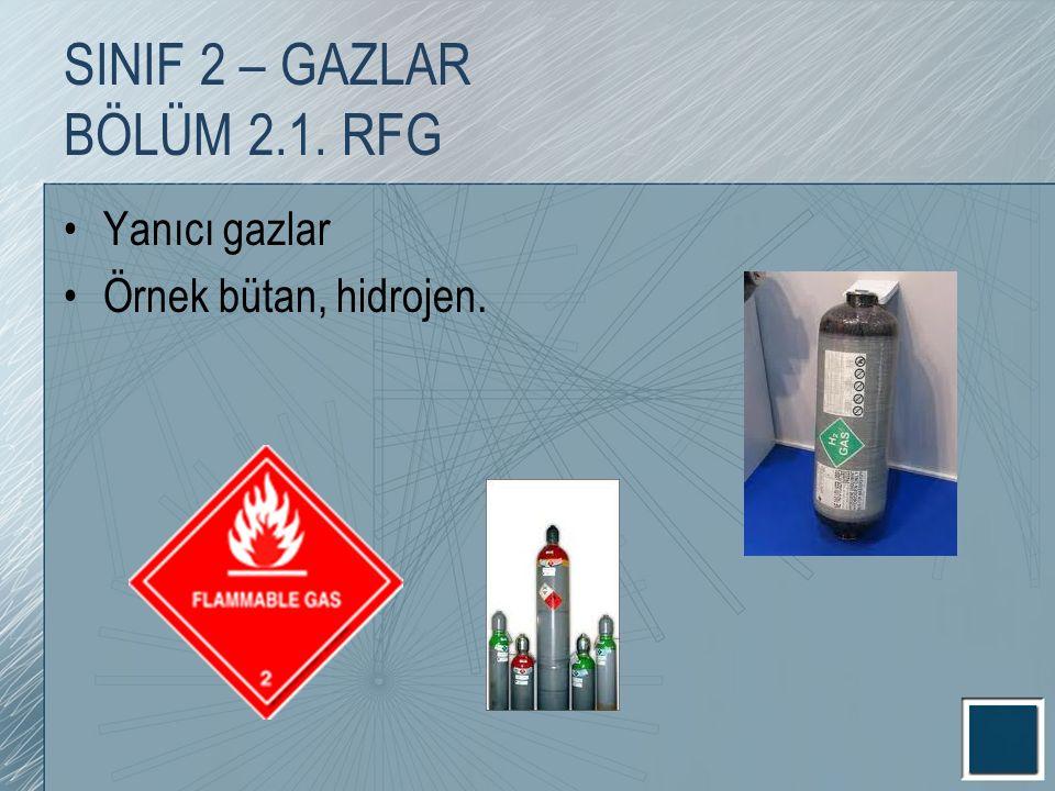 Yanıcı gazlar Örnek bütan, hidrojen. SINIF 2 – GAZLAR BÖLÜM 2.1. RFG