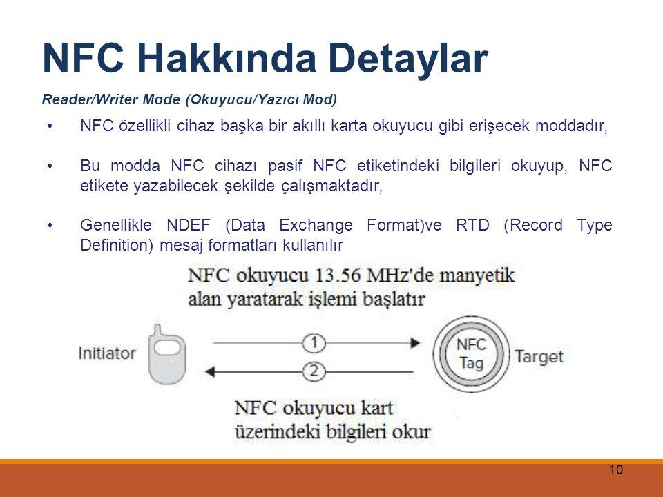 10 NFC Hakkında Detaylar Reader/Writer Mode (Okuyucu/Yazıcı Mod) NFC özellikli cihaz başka bir akıllı karta okuyucu gibi erişecek moddadır, Bu modda N