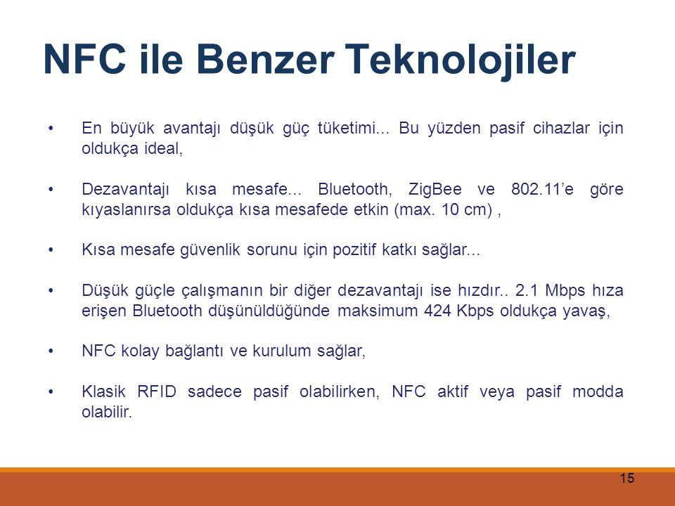 15 NFC ile Benzer Teknolojiler En büyük avantajı düşük güç tüketimi... Bu yüzden pasif cihazlar için oldukça ideal, Dezavantajı kısa mesafe... Bluetoo